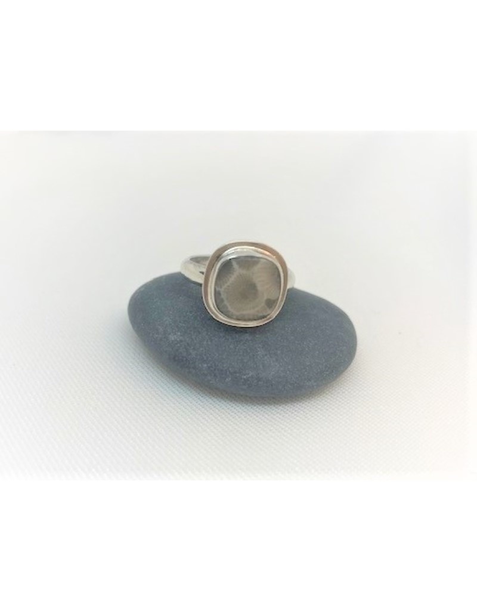Bezel Set Ring - Petoskey Stone Square