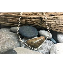 Triangle Bezel Necklace - Petoskey Stone
