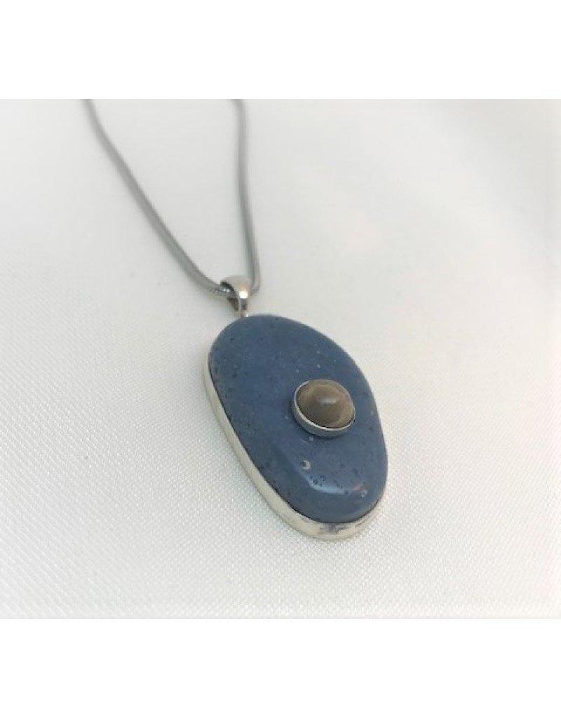 Wrapped Necklace Pendant - Leland Blue w/ Petoskey Accent