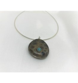 Necklace Pendant - Petoskey Stone w/Leland Blue Accent