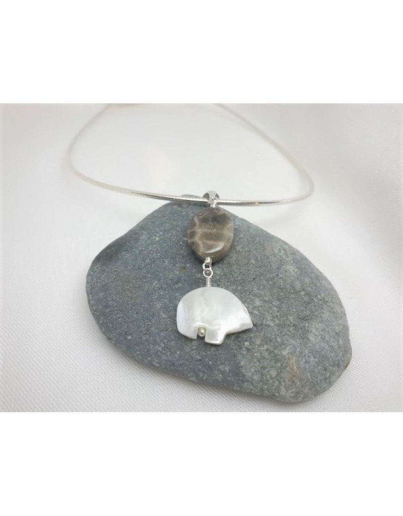 Necklace Pendant - Petoskey & Pearl Bear