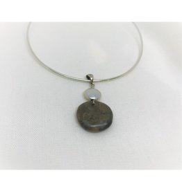Necklace Pendant - Petoskey & Pearl Round