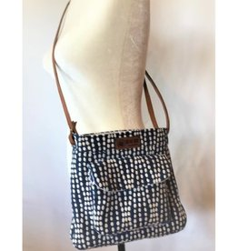 Bear Den Handmade Sweetheart Crossbody Satchel - Blue with White Dots