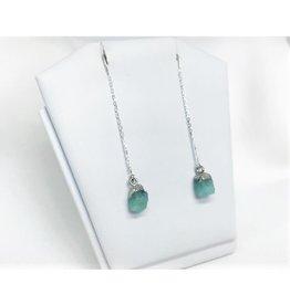 Thread Through Earrings - Aquamarine/Silver