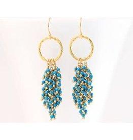 Beaded Tassel Earrings - Turquoise/Gold