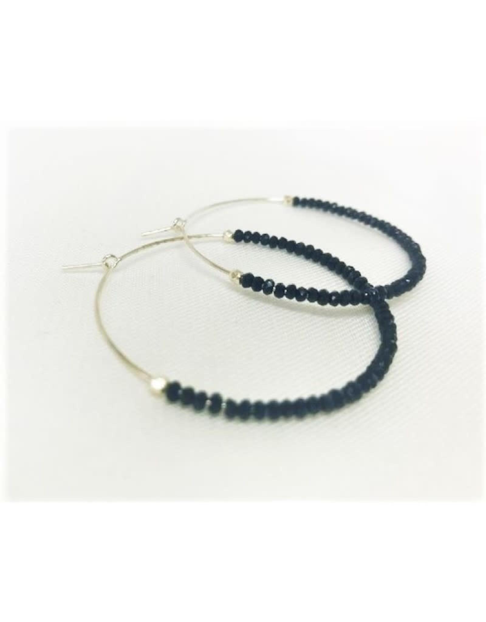 Hoop Earrings - Black Spinal/Silver