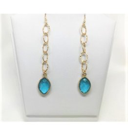 Dangle Earrings - Blue Topaz/Gold/Sm Circle
