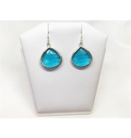 Pendant Earrings - Blue Topaz/Silver