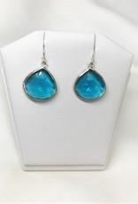 Pendant Earrings - Blue Topaz/Silver