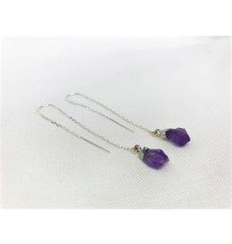 Thread Through Earrings - Amethyst/Silver