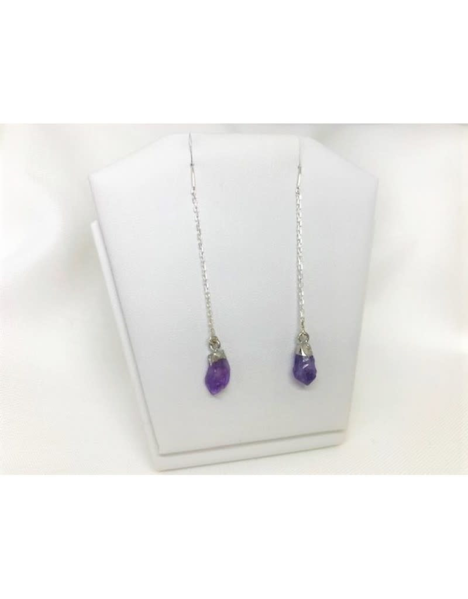 Thread Through Earrings - Amethyst/Silver