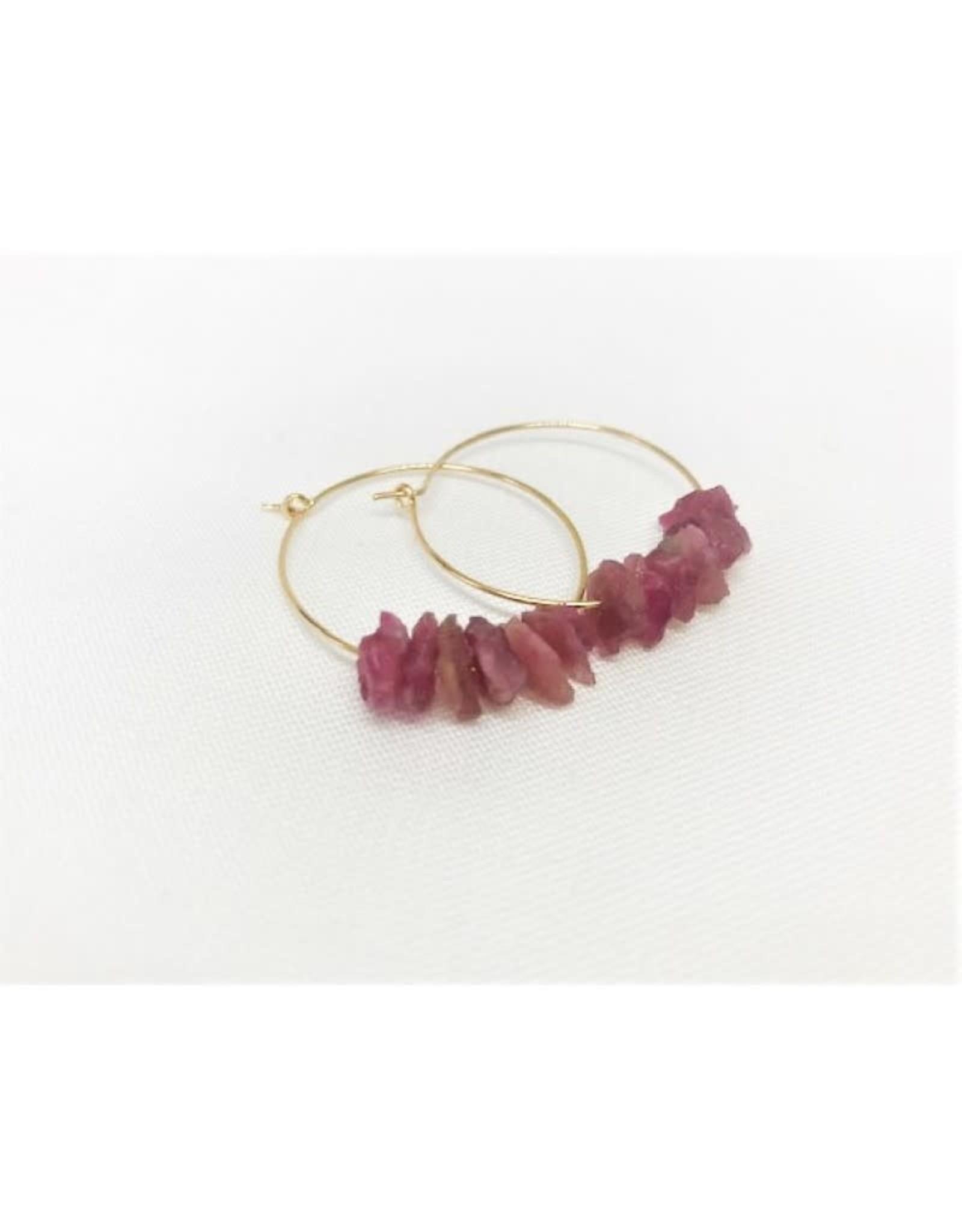 Hoop Earrings - Pink Tourmaline/Gold/Sm