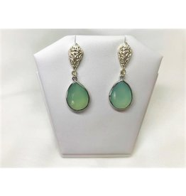 Pendant Earrings - Aqua Blue Chalcedony/Silver/Filigree/Teardrop