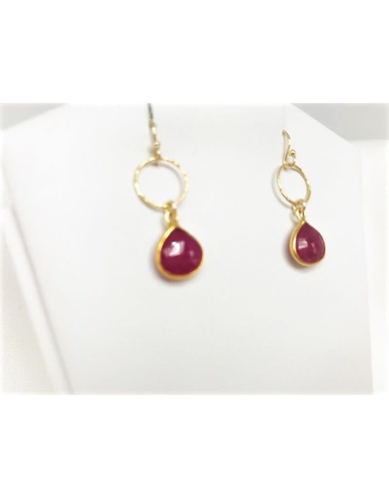 Dangle Earrings - Ruby/Gold/Sm Circle