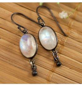 Dangle Earrings - Opal/Oxidized Silver