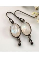 Dangle Earrings - Opal/Oxidized Silver