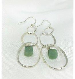 French Hook Earrings - Aquamarine/Silver/Hoops