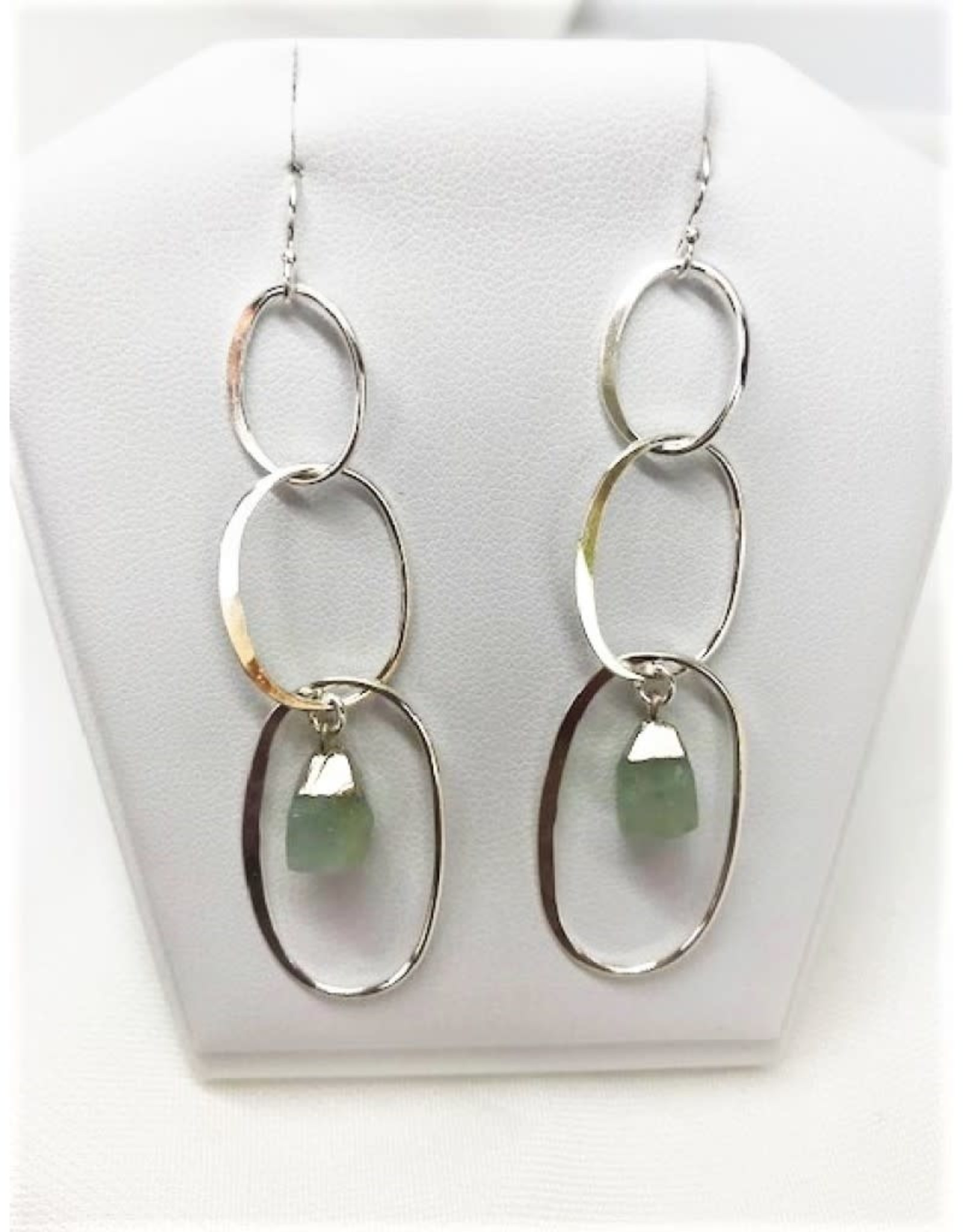 Dangle Earrings - Aquamarine/Silver/Hoops