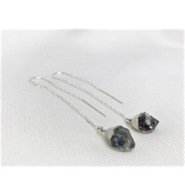 Thread Through Earrings - Herkimer Diamond/Silver