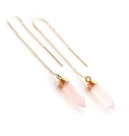 Thread Through Earrings - PInk Chalcedony/Gold