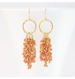 Beaded Tassel Earrings - Coral/Gold
