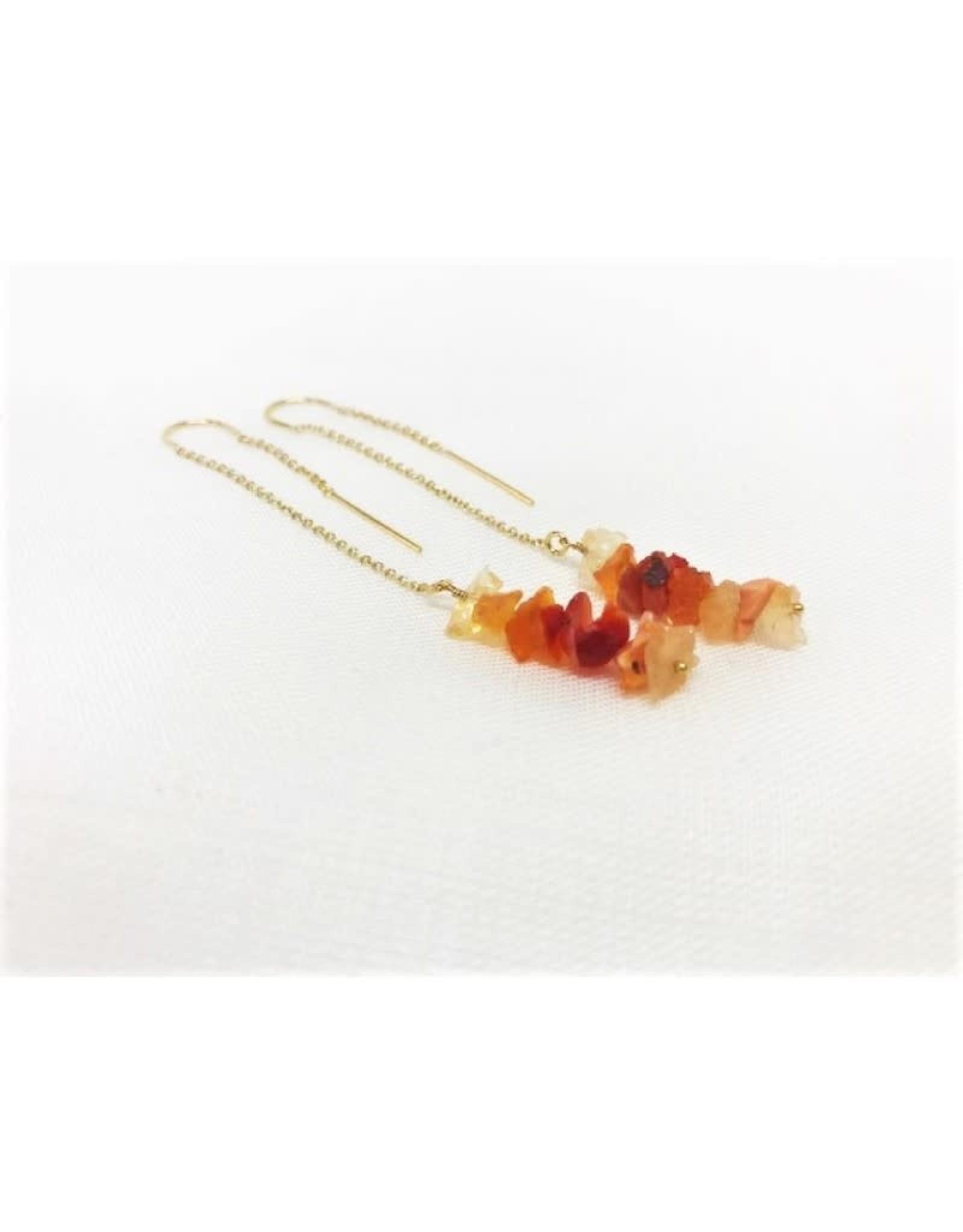 Thread Through Earrings - Fire Opal/Gold