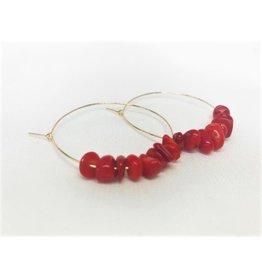 Hoop Earrings - Coral/Gold