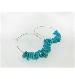Hoop Earrings - Raw Turquoise/Silver