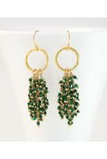Beaded Tassel Earrings - Malachite/Gold
