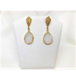 Teardrop Pendant Earrings - White Druzy/Gold/Filigree