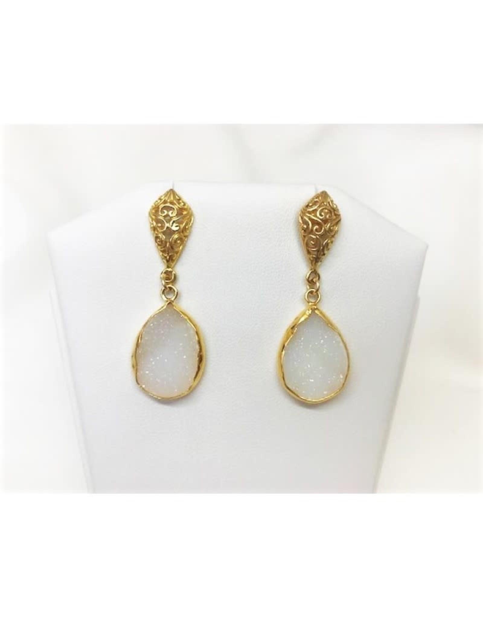 Teardrop Pendant Earrings - White Druzy/Gold/Filigree