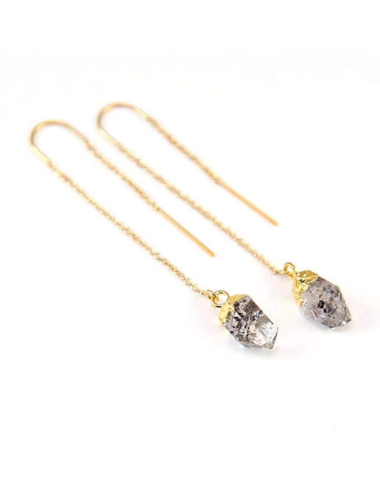 Thread Through Earrings - Herkimer Diamond/Gold