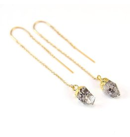 Thread Through Earrings - Herkimer Diamond/Gold