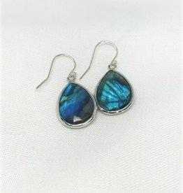 Teardrop Pendant Earrings - Labradorite/Silver