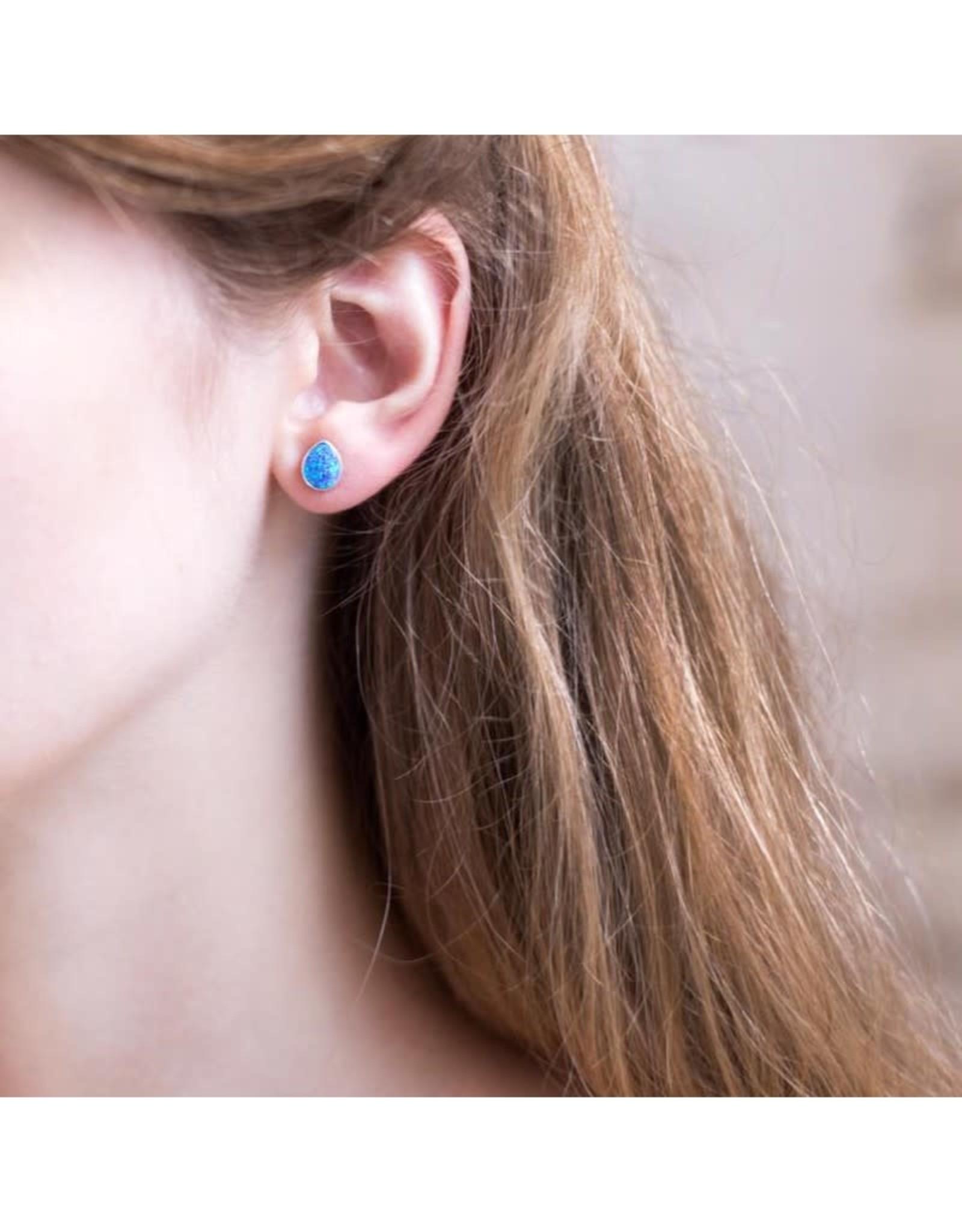 Stud Earrings - Blue Opal/Silver/Teardrop
