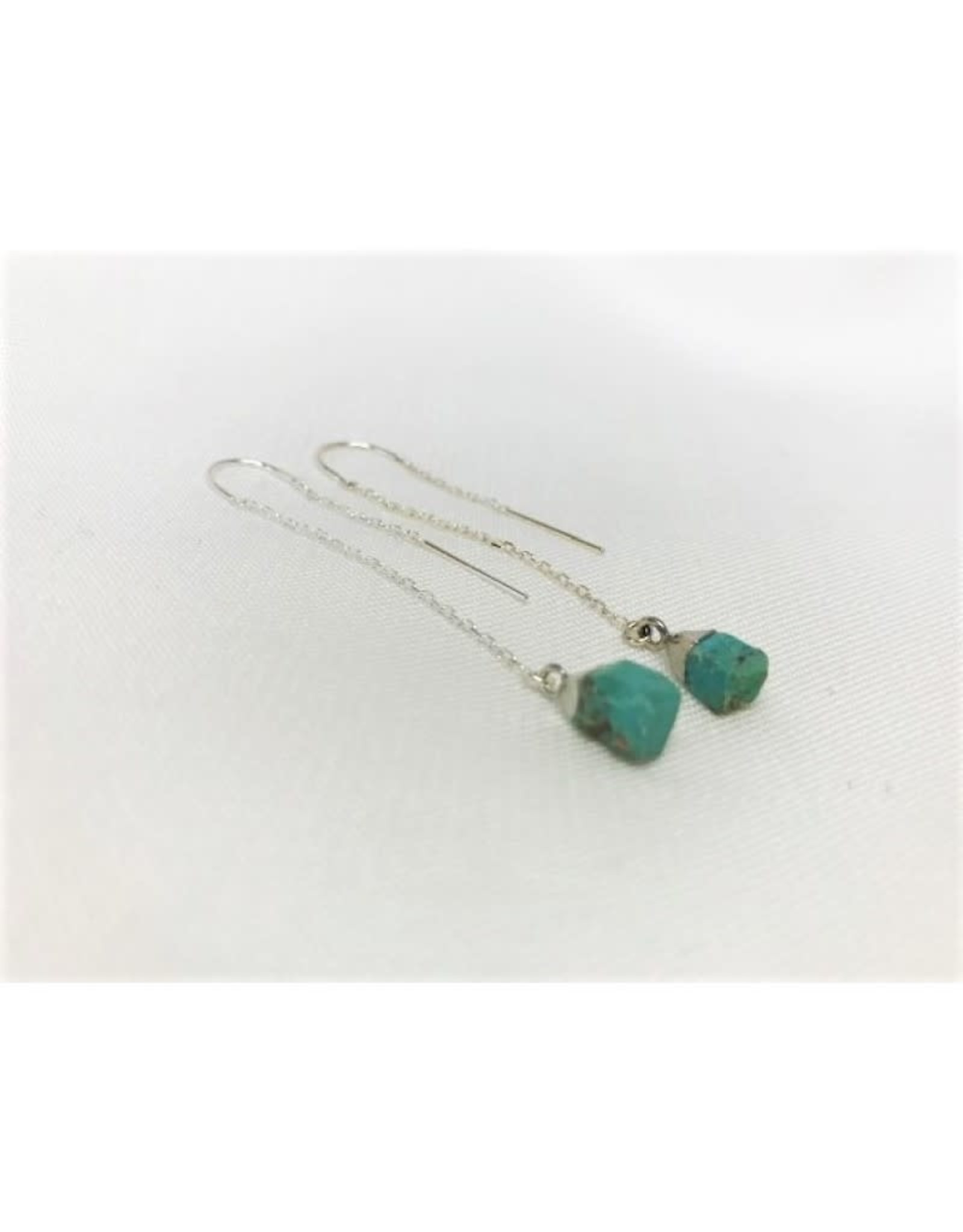 Thread Through Earrings - Turquoise/Silver