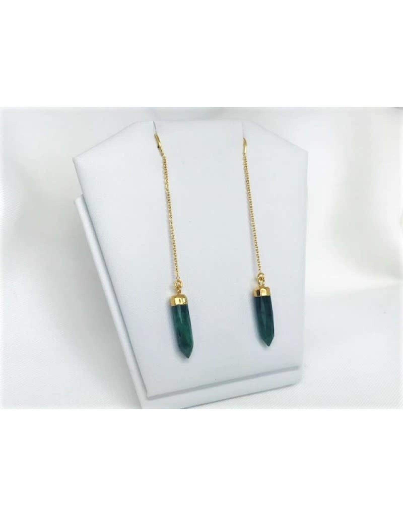 Thread Through Earrings - Raw Emerald/Gold