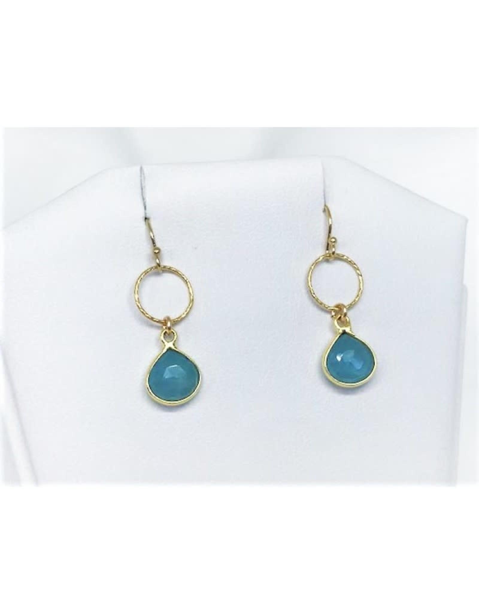 French Hook Earrings - Aquamarine/Gold/Sm Circle