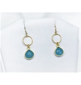 French Hook Earrings - Aquamarine/Gold/Sm Circle