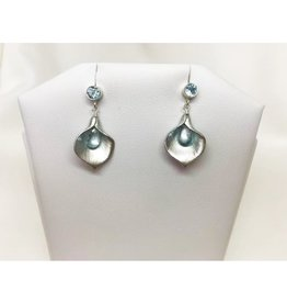 French Hook Earrings - Blue Topaz/Silver/Calla Lily