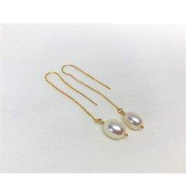 Thread Through Earrings - Pearl/Gold