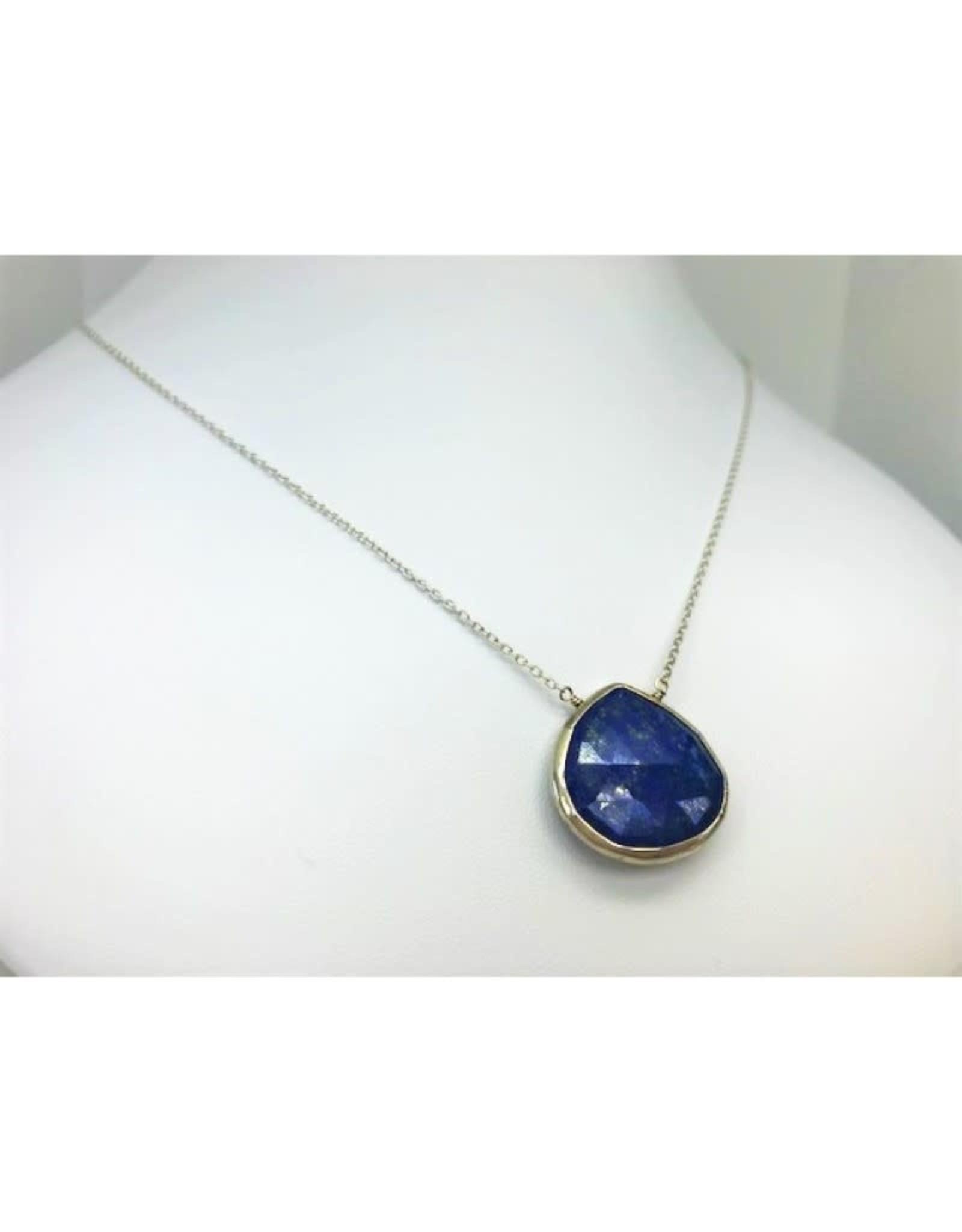 Lapis Pendant Necklace - Silver