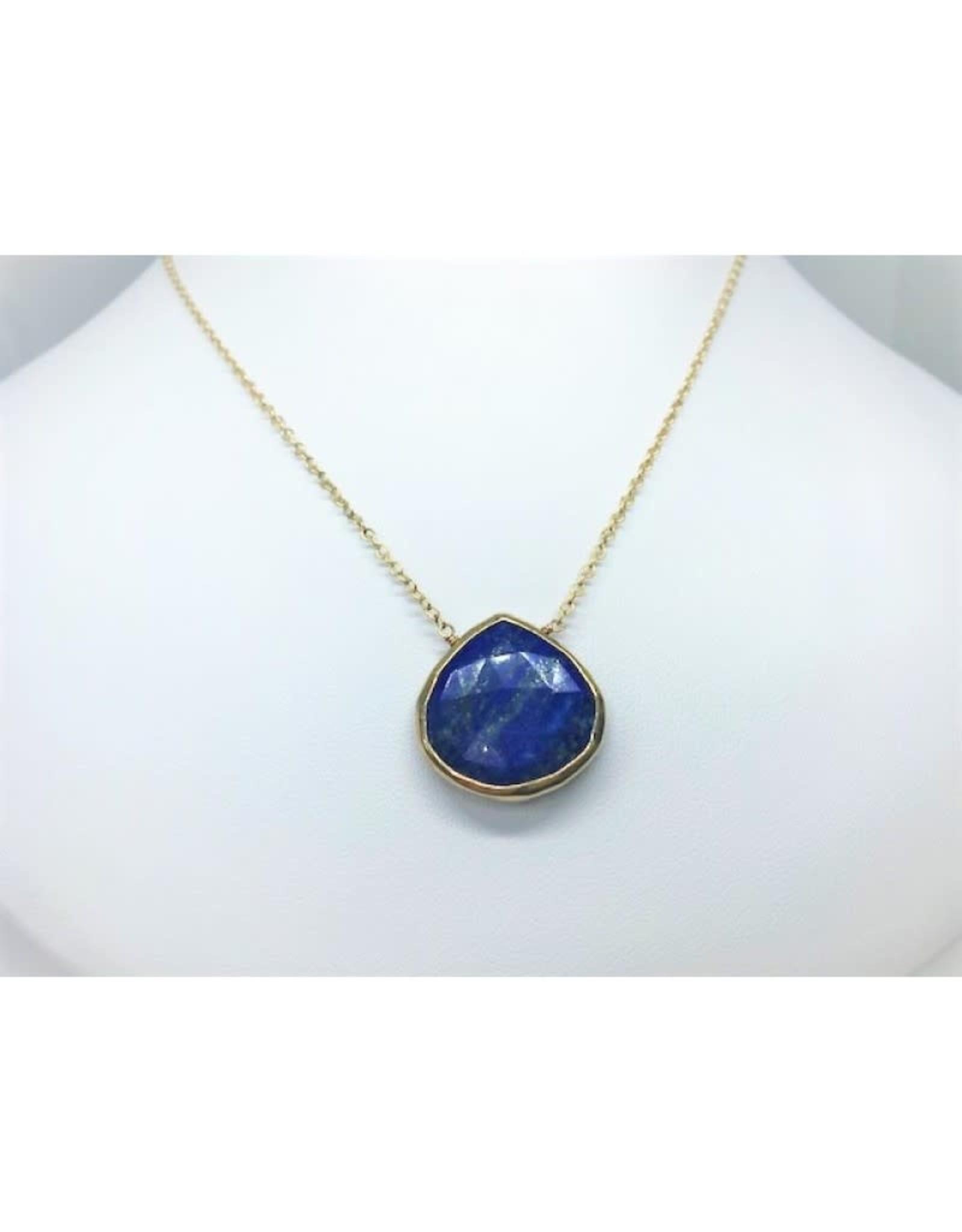 Lapis Pendant Necklace - Gold