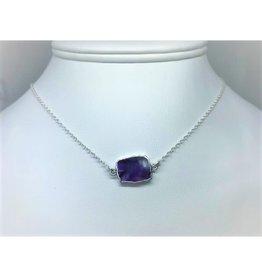 Gemstone Slice Necklace - Amethyst