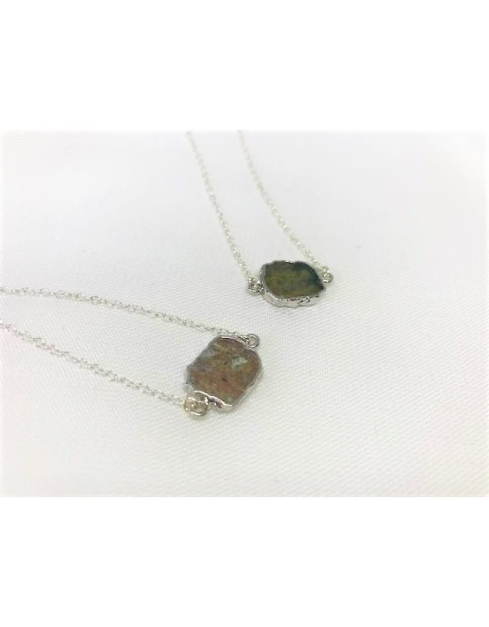 Gemstone Slice Necklace - Ocean Jasper