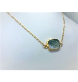 Gemstone Slice Necklace - Moss Quartz