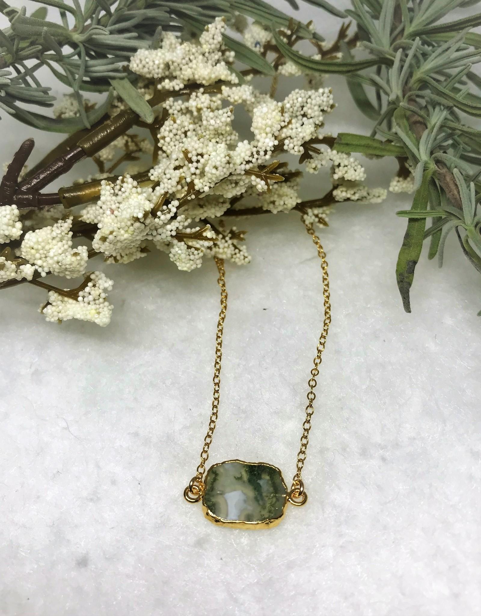Gemstone Slice Necklace - Moss Quartz