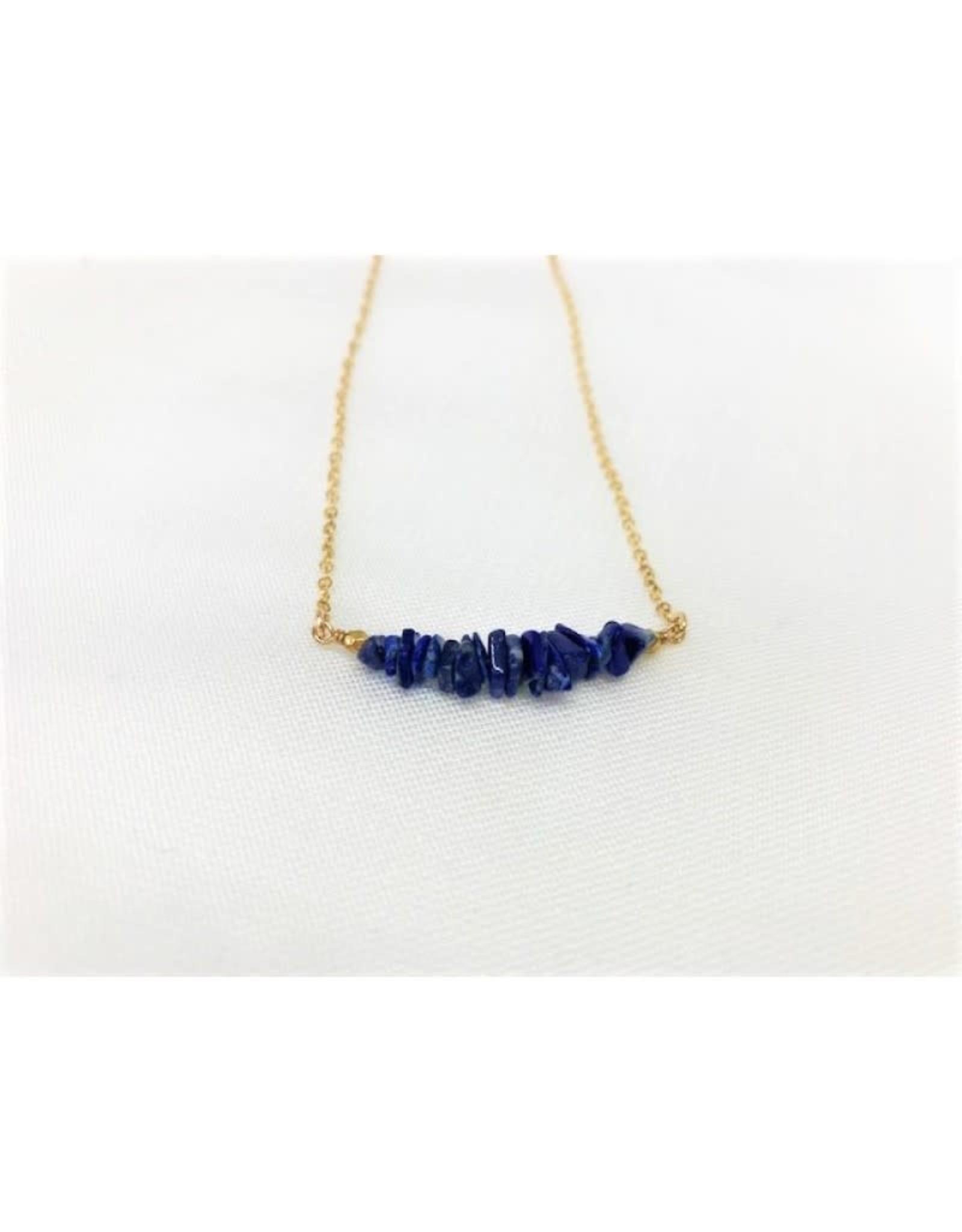 Gemstone Bar Necklace - Lapis