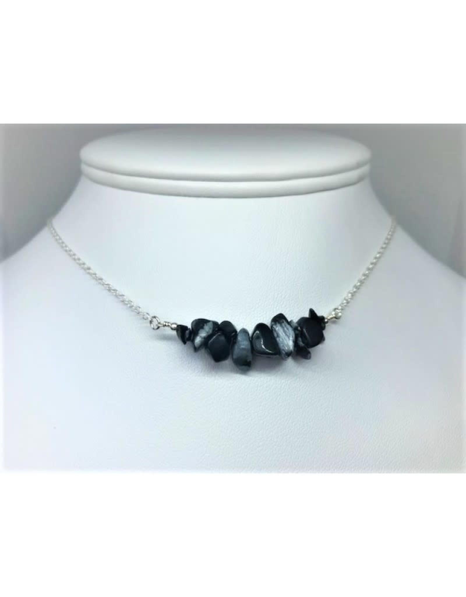 Gemstone Bar Necklace - Obsidian