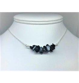 Gemstone Bar Necklace - Obsidian